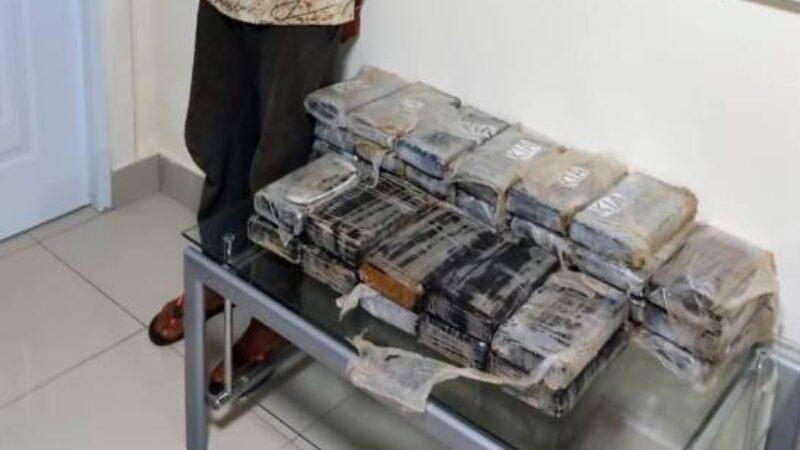 Autoridades ocupan 37 paquetes de droga escondidos dentro de carga de plátano