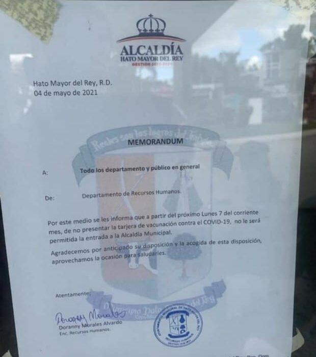 Alcaldía de Hato Mayor del Rey anuncia no permitirán entrada a personas sin tarjeta de vacunación